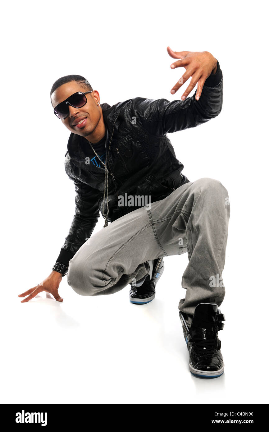 African American hip hop dancer over white background - Stock Image