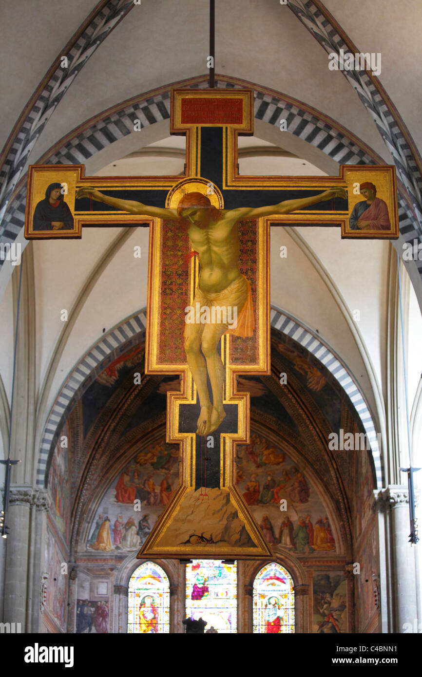 Giotto's crucifix in Santa Maria Novella, Florence, Italy Stock Photo