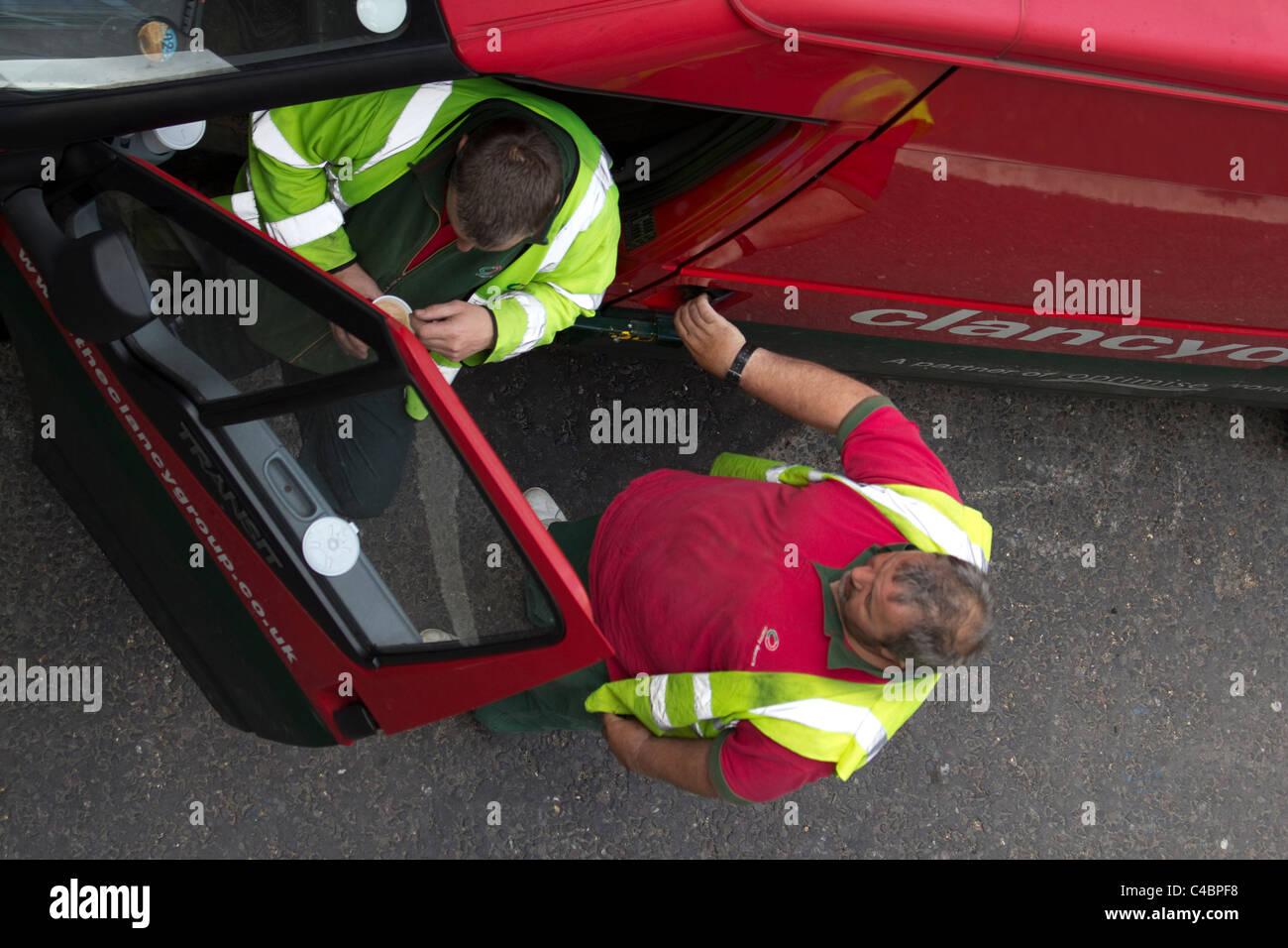 Clancy Docwra van with workmen - Stock Image