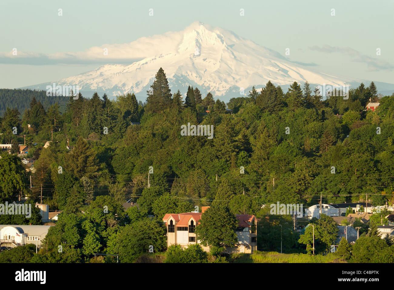 Mount Hood and Oregon City Landscape - Stock Image