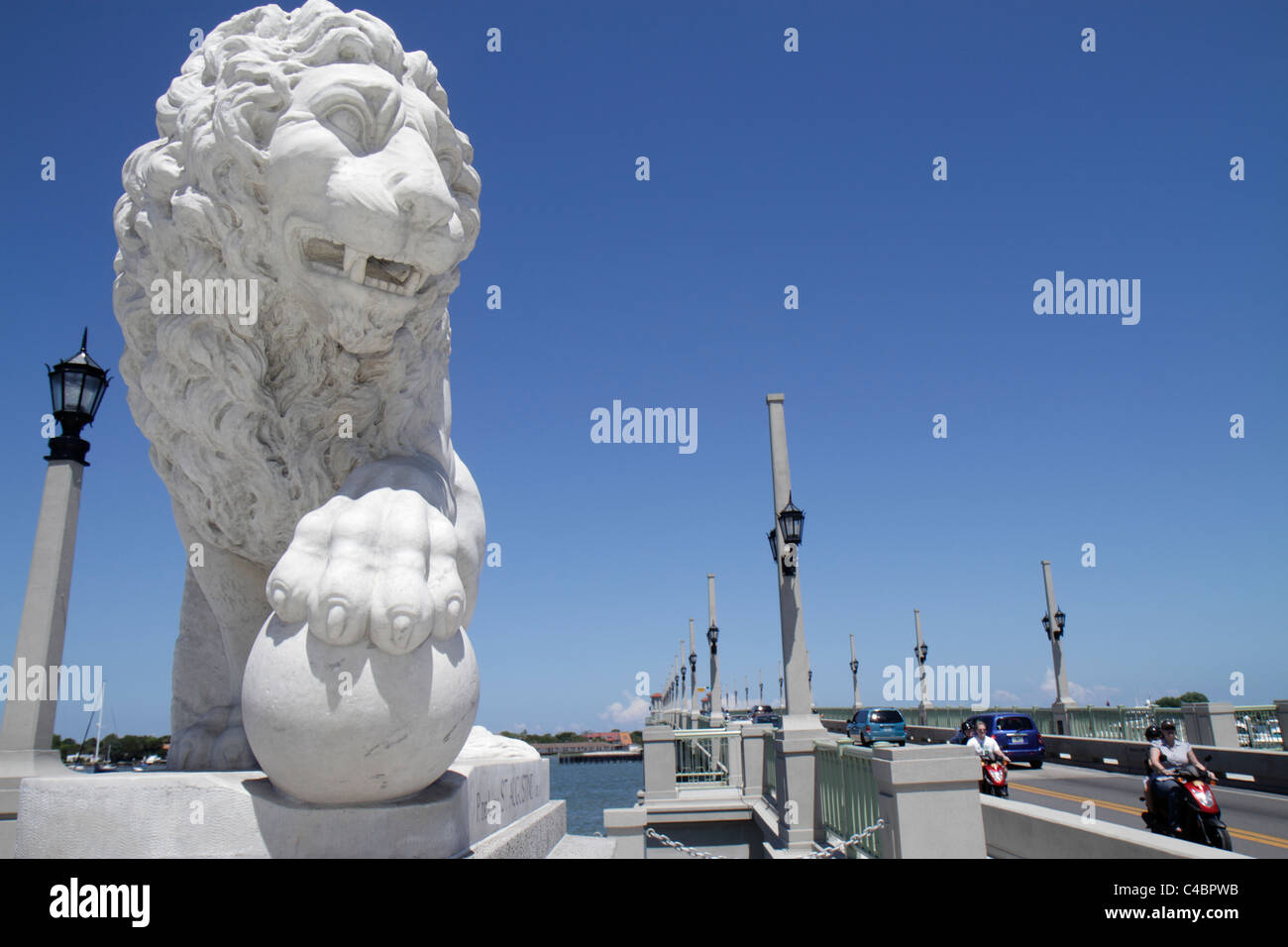 St. Saint Augustine Florida Bridge of Lions State Highway A1A Intracoastal Waterway bascule - Stock Image