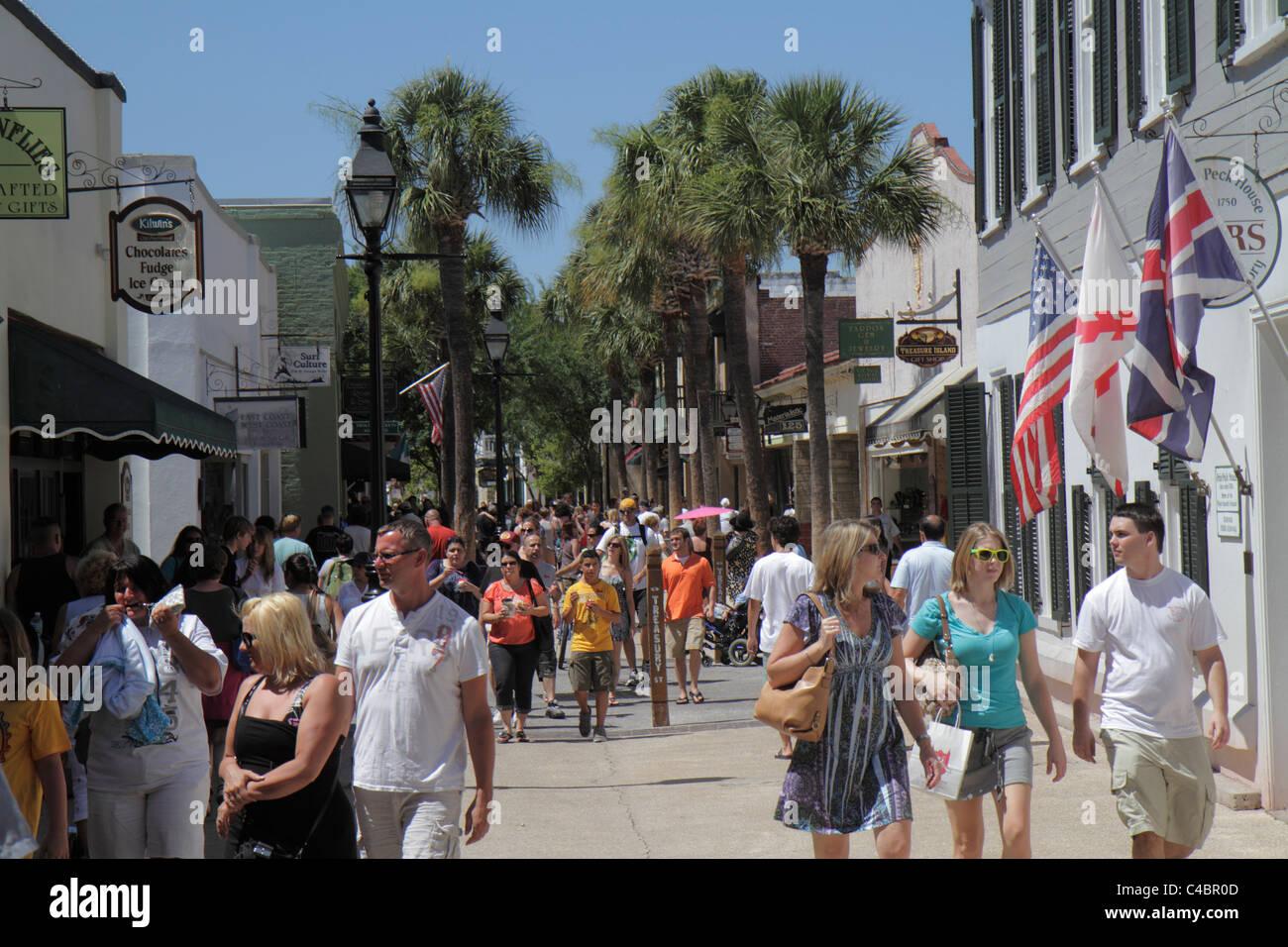 St. Saint Augustine Florida St. George Street Pedestrian Mall Shopping  Dining Walking Families