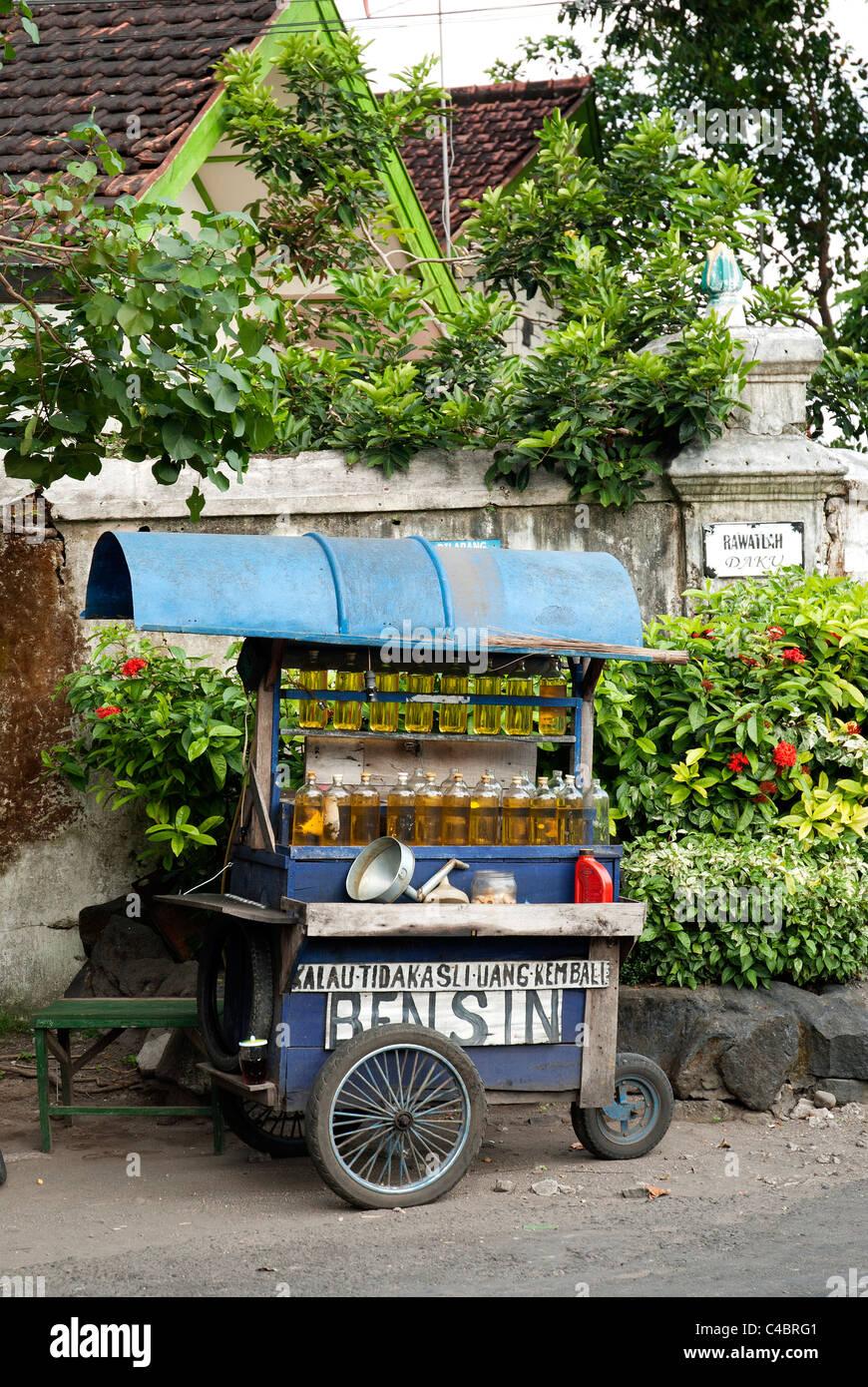petrol gasoline street stall in surakarta indonesia - Stock Image