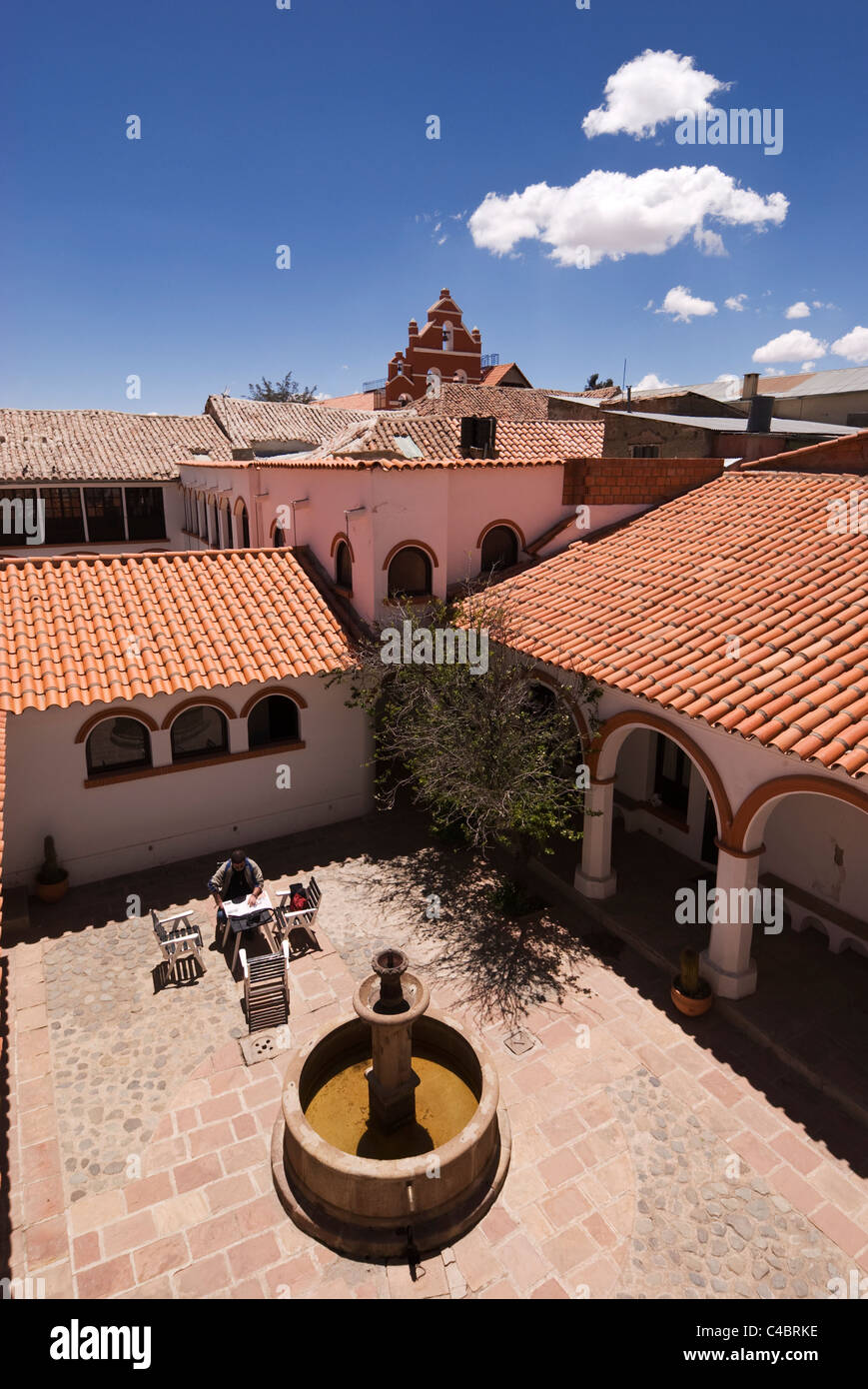 Potosi, Hostal Colonial, courtyard from above - Stock Image