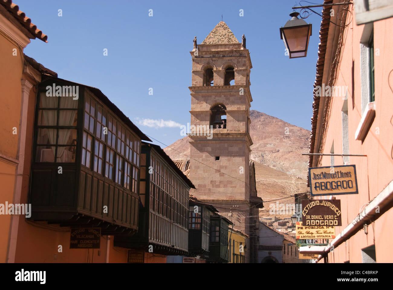Potosi, Iglesia San Francisco church, tower with street scene - Stock Image