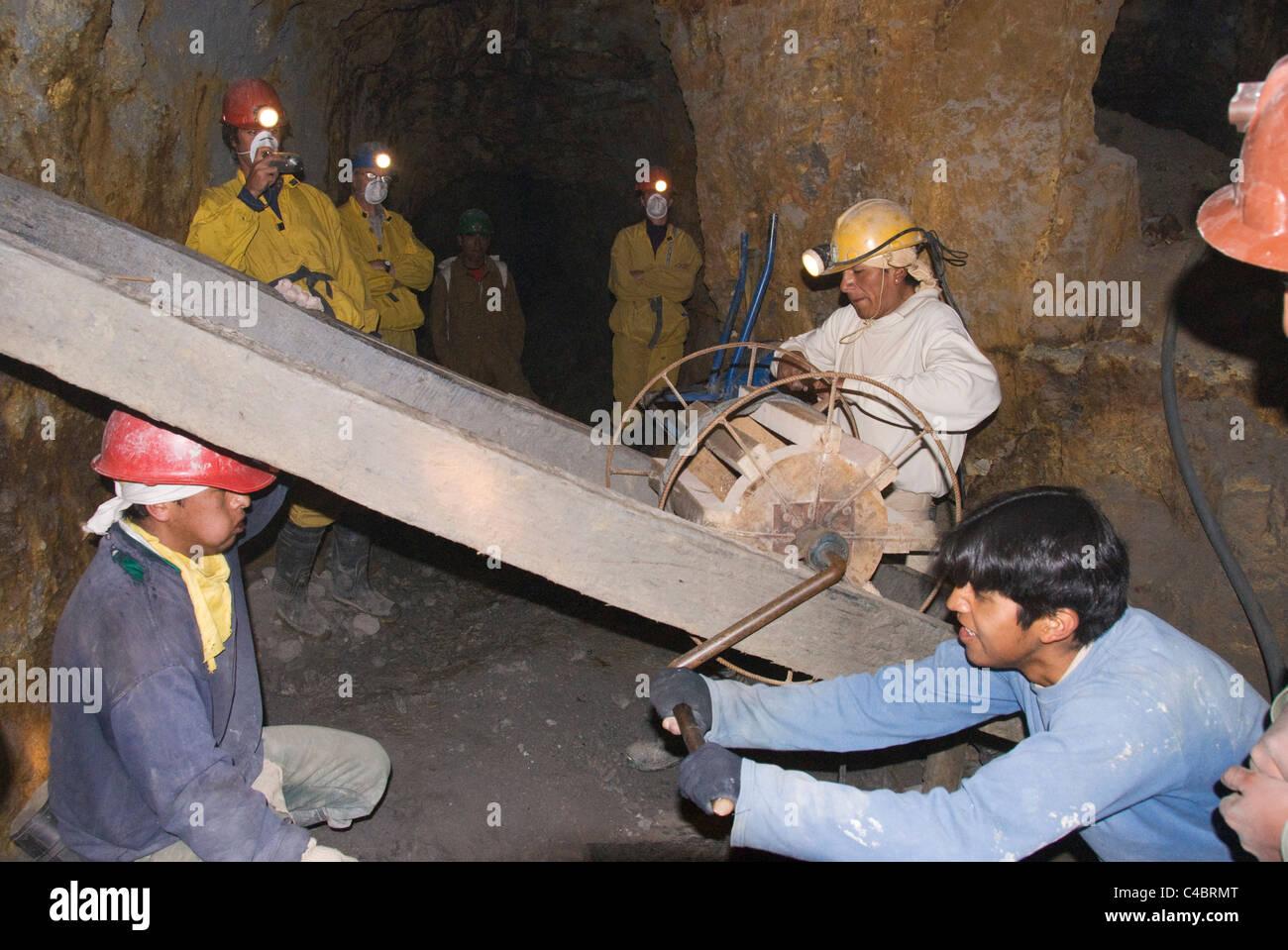 Bolivia, Potosi, Cooperative Mine Tour, Potosi Hill (Cerro Rico), mine interior, miners working - Stock Image