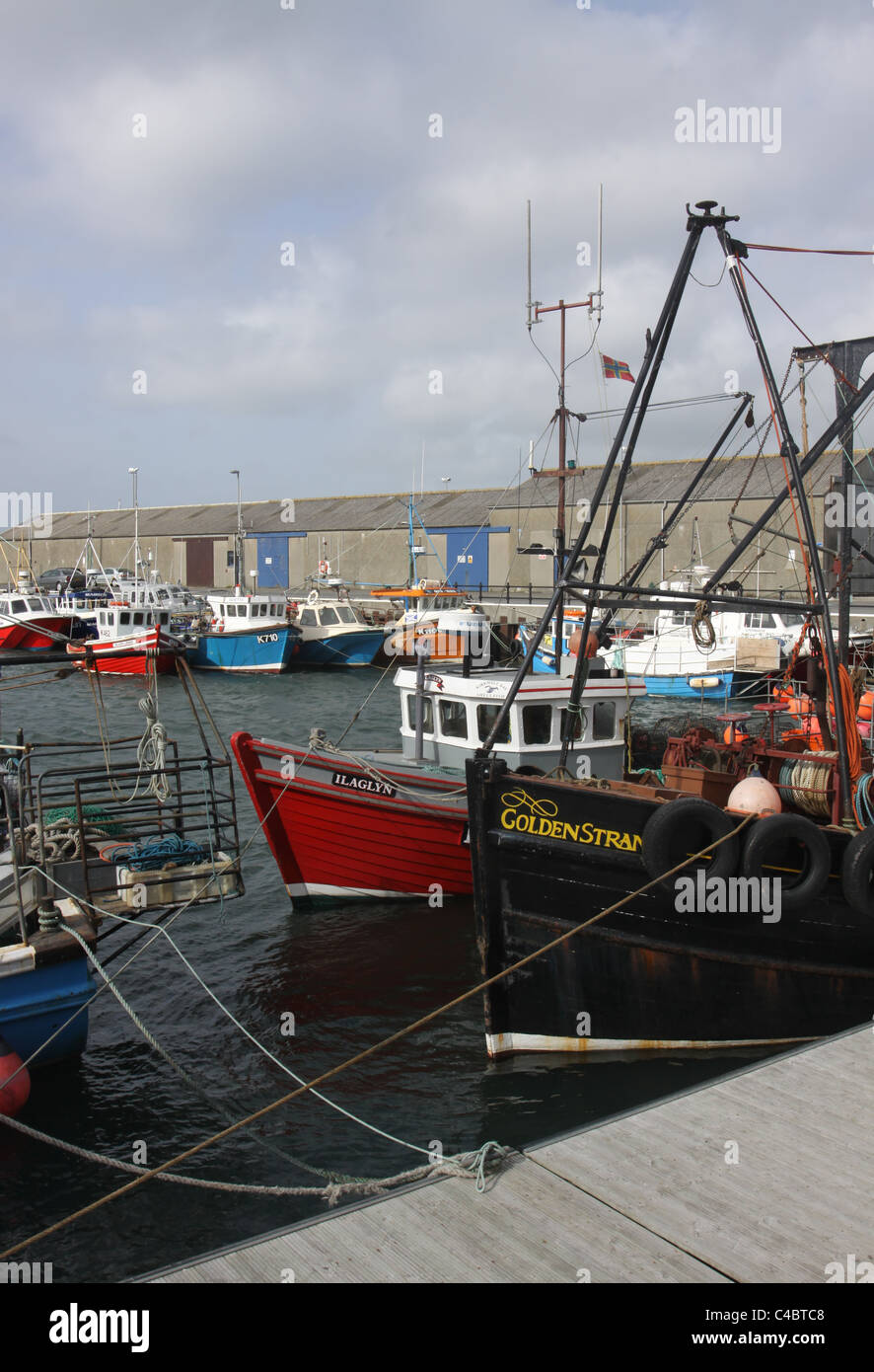 Fishing boats moored in Kirkwall Harbour Orkney Scotland May 2011 - Stock Image