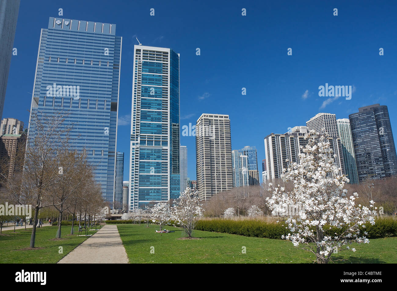 Daley Bicentennial Plaza in Chicago's Grant Park Stock Photo
