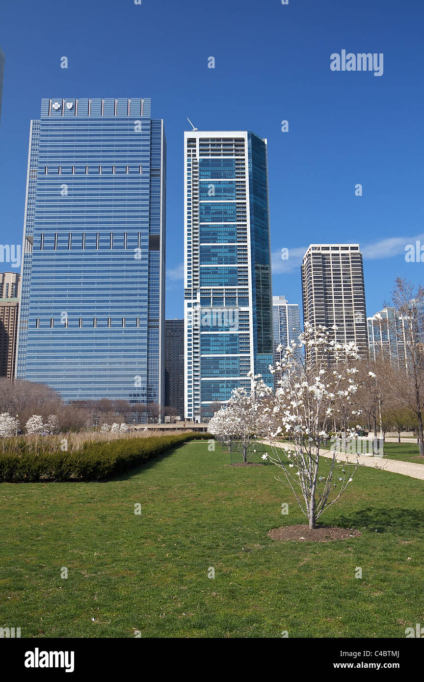 View of Blue Cross Blue Shield Tower and 340 on the Park skyscrapers from Daley Bicentennial Plaza in Chicago's Stock Photo
