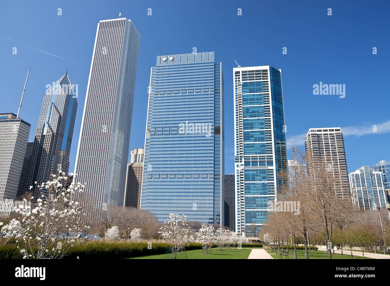 View of skyscrapers from Daley Bicentennial Plaza in Chicago's Grant Park Stock Photo