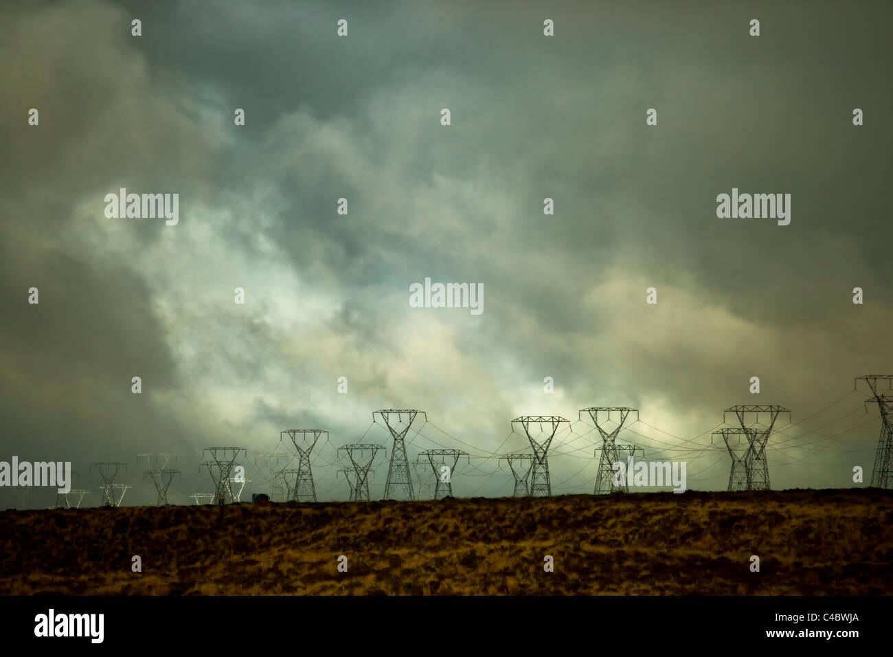 Electricity pylons running alongside state highway one, near Tongariro National park, New Zealand - Stock Image