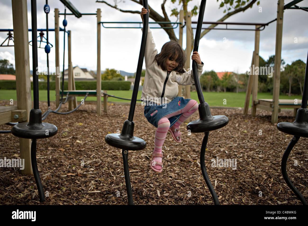 Adventure playground at local school, Palmerston North, New Zealand. Stock Photo