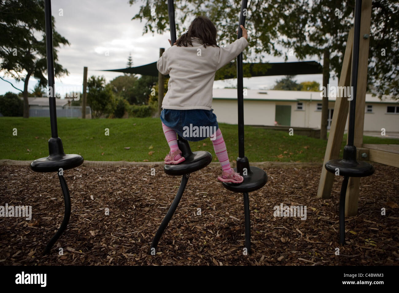Adventure playground at local school, Palmerston North, New Zealand. - Stock Image