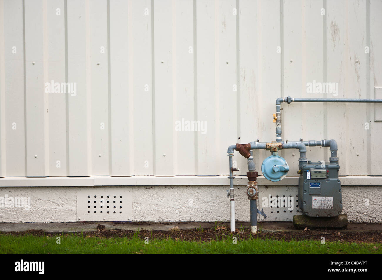 Gas meter, New Zealand. Identifying logos removed. - Stock Image