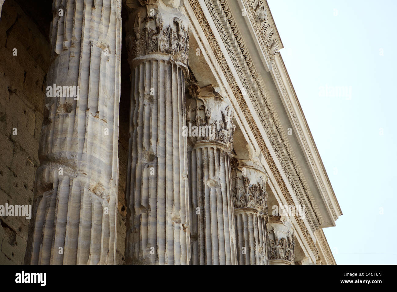 Corinthian columns at The Pantheon in Rome, Italy - Stock Image