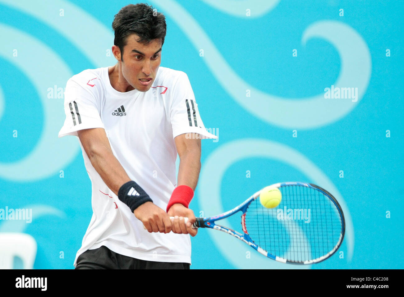Yuki Bhambri of India competing in the Mens' Singles Finals. - Stock Image