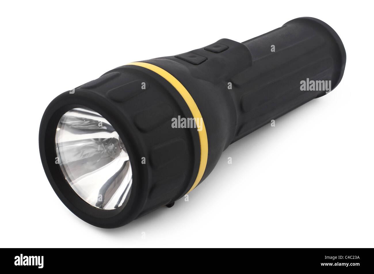 Black flashlight isolated on white - Stock Image