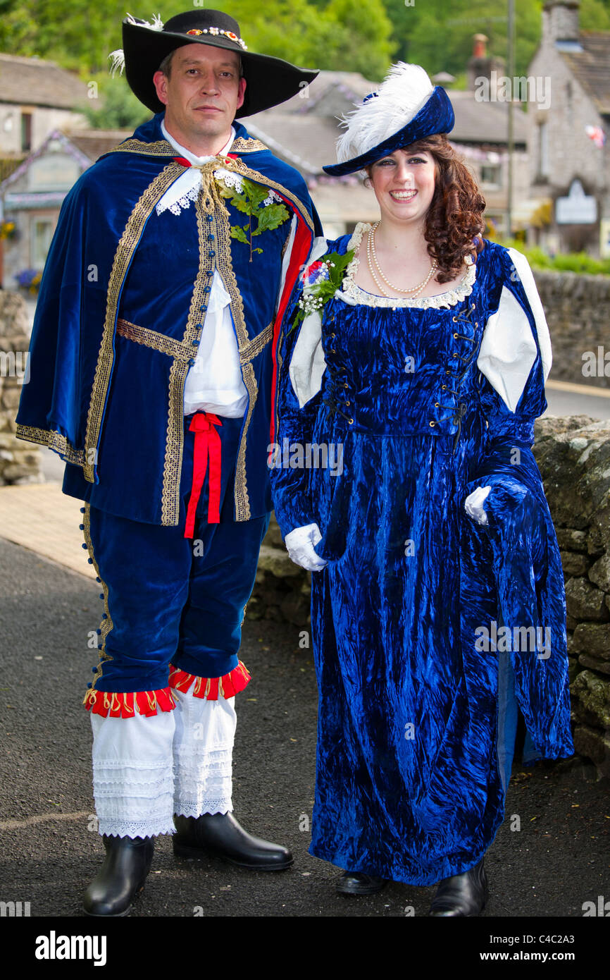 'Garland King' and 'Queen', Garland Day, Castleton Derbyshire, England, UK - Stock Image