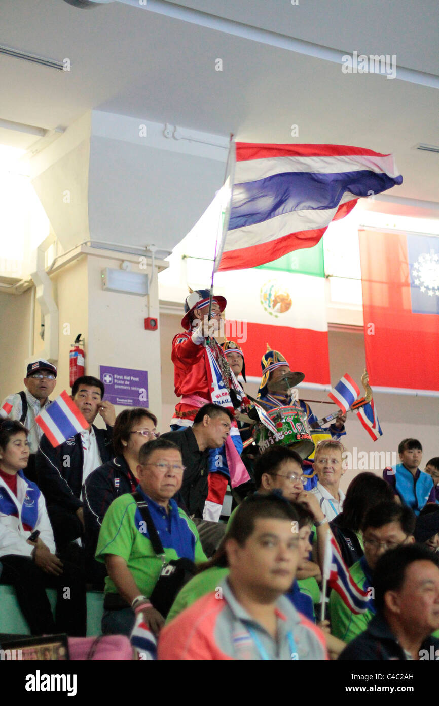 Thai fans could be seen in full force as they came to support Thai athlete Sirivimon Pramongkhol. - Stock Image