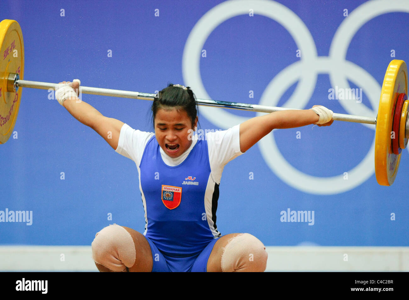 Myanmar's Kay Khine Khine in action during her snatch routine. - Stock Image
