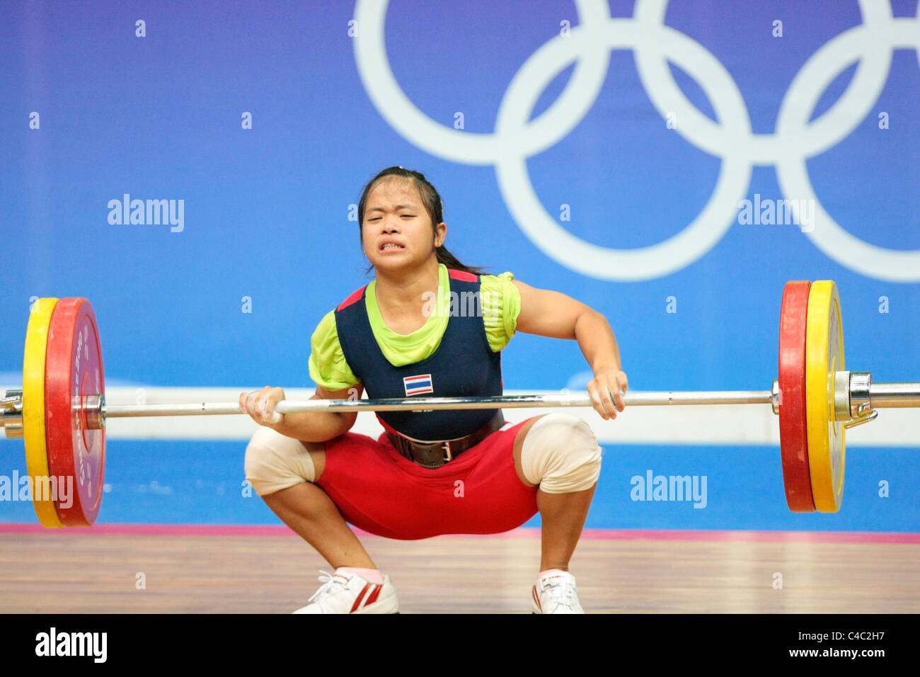 100 KG proves to be too much weight for Thailand's Sirivimon Pramongkhol as she fails to lift it. - Stock Image