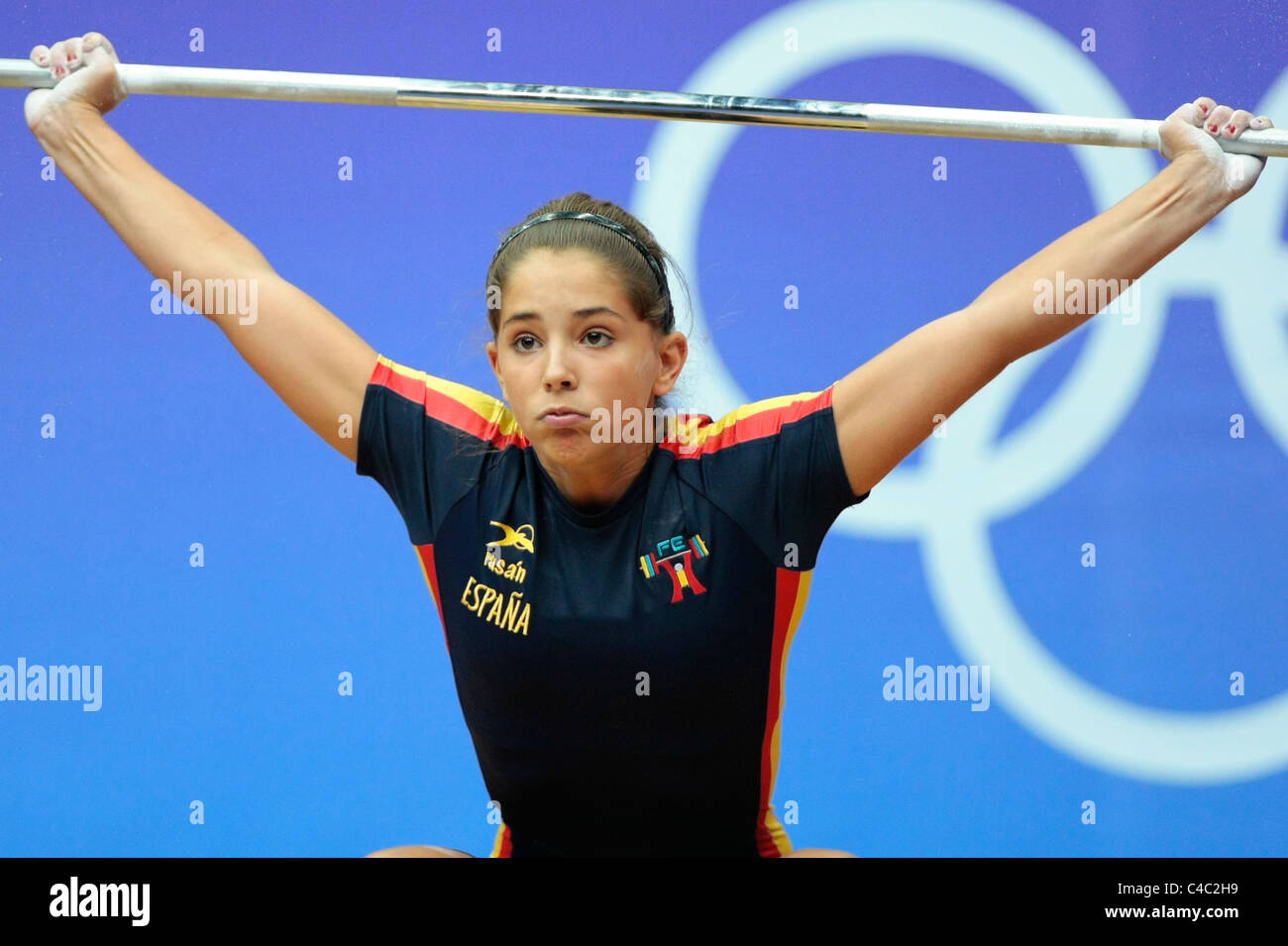 Spain's Atenery Hernandez in action during her snatch routine. - Stock Image