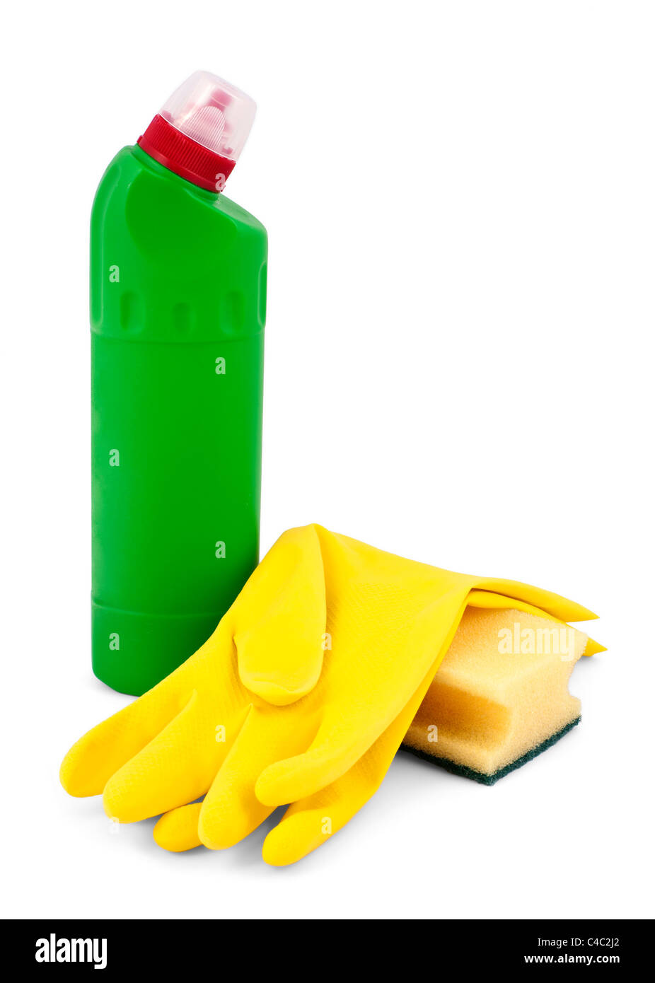household cleaners isolated on white - Stock Image