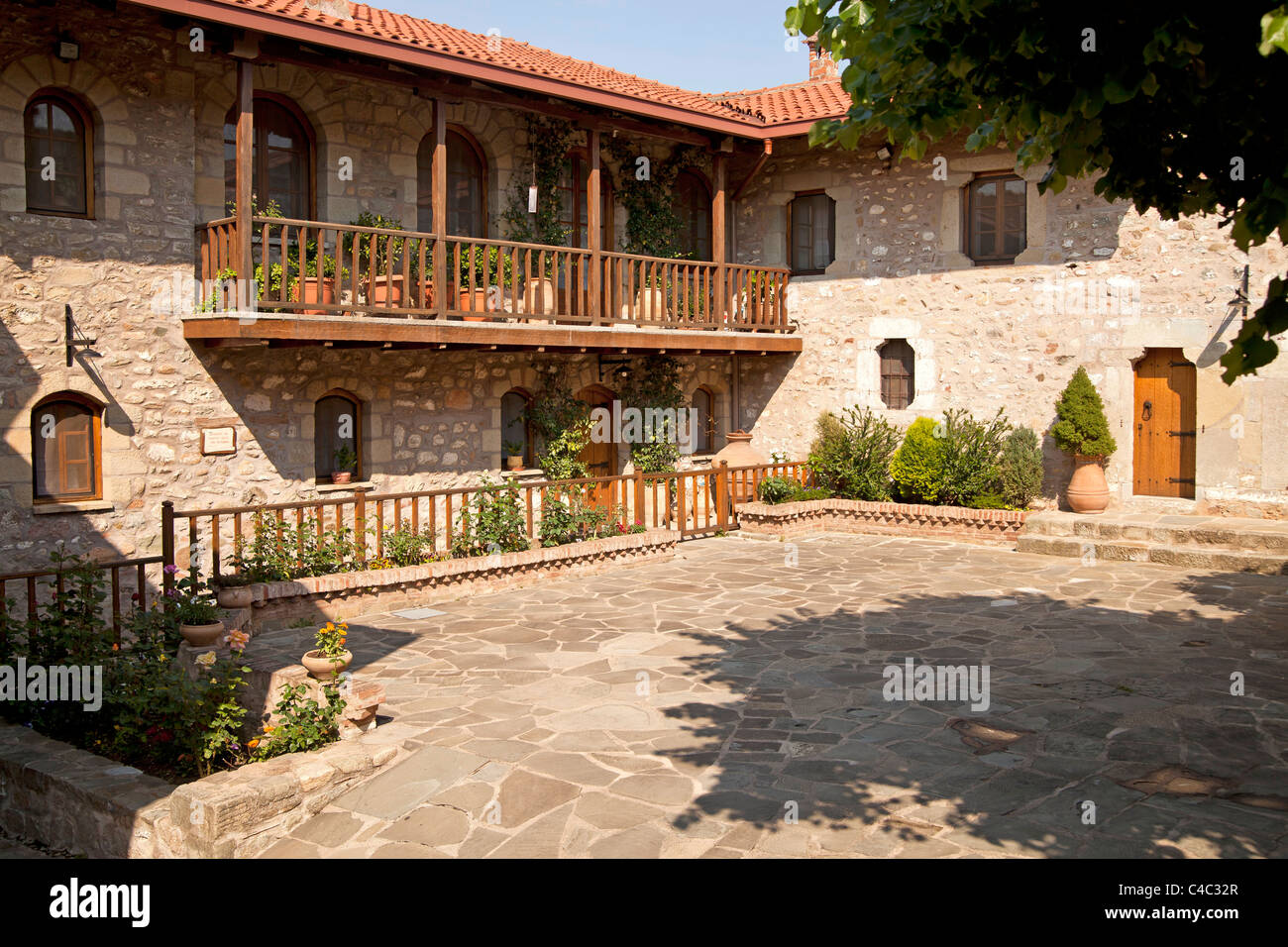 Courtyard of the Holy Monastery of St. Stephen. Meteora complex of Eastern Orthodox monasteries, UNESCO World Heritage - Stock Image