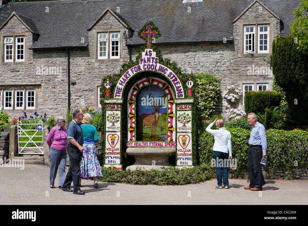 Tissington Well Dressing, Tissington, Derbyshire, England, UK - Stock Image