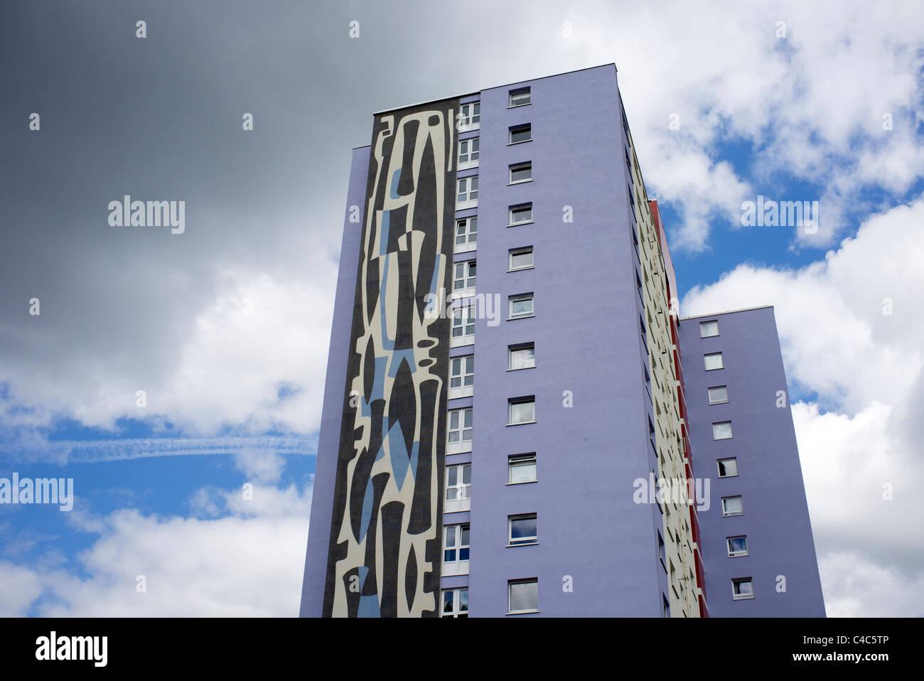 refurbished high rise block of flats - Stock Image