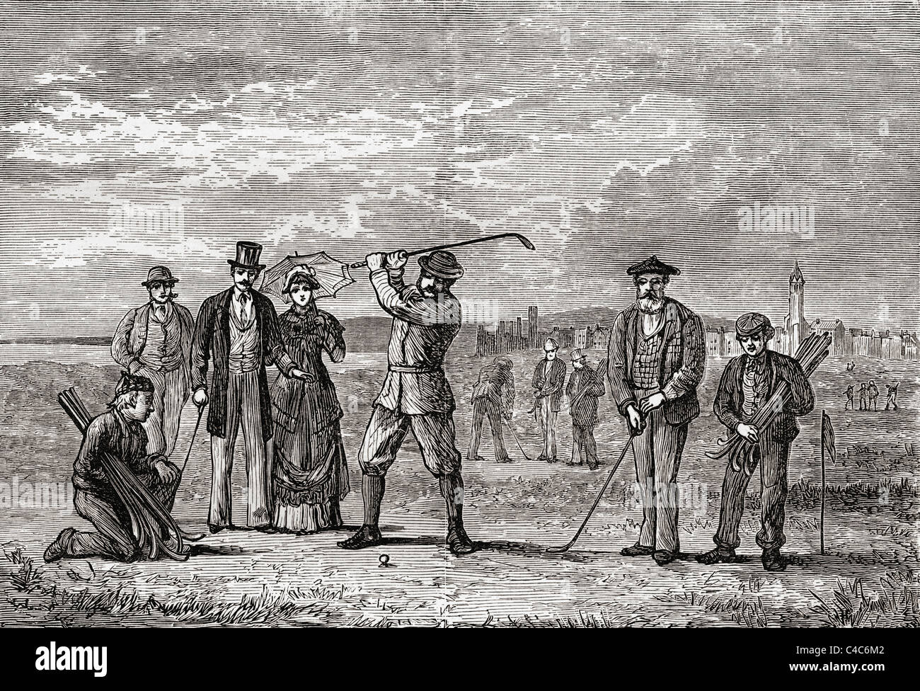 Golfers on St Andrews Links in the town of St Andrews, Fife, Scotland in the late 19th century. - Stock Image