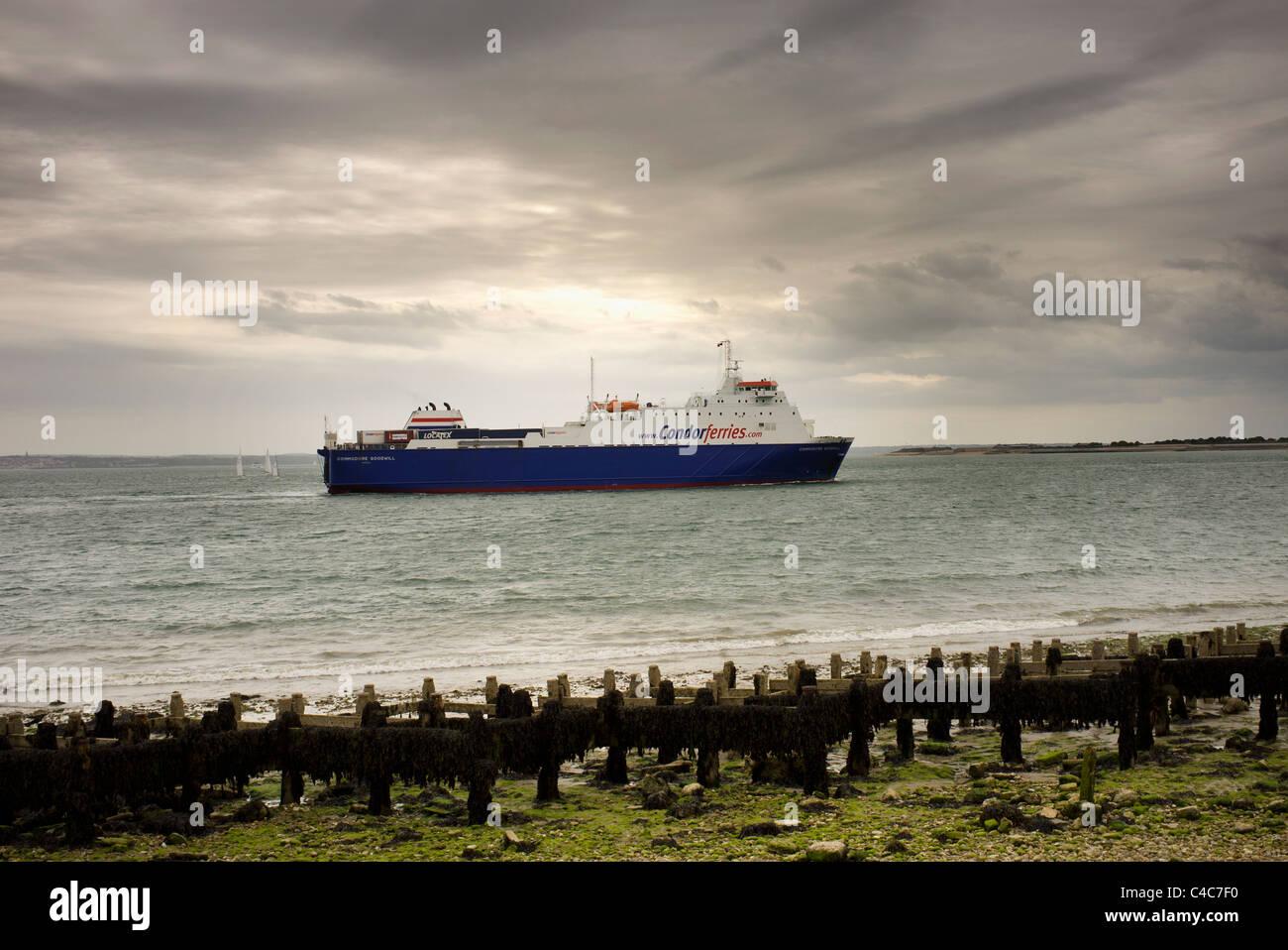 ferry entering port Stock Photo