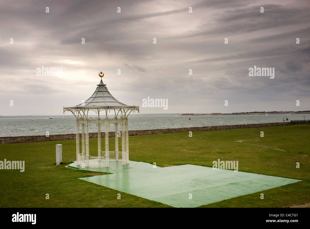 Southsea bandstand overlooking Portsmouth Harbour - Stock Image