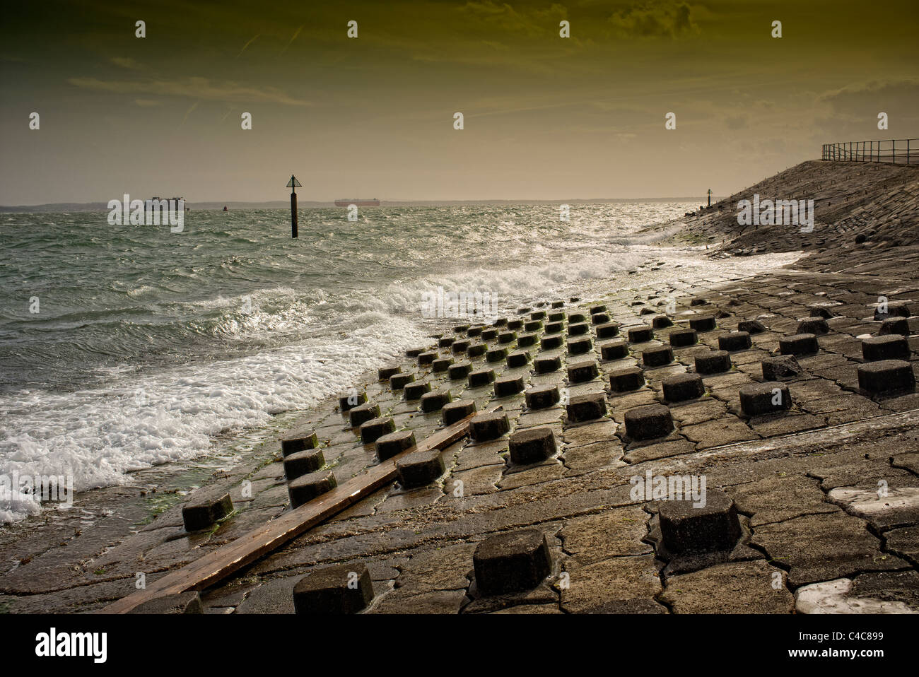 Southsea seafront breakwater Stock Photo
