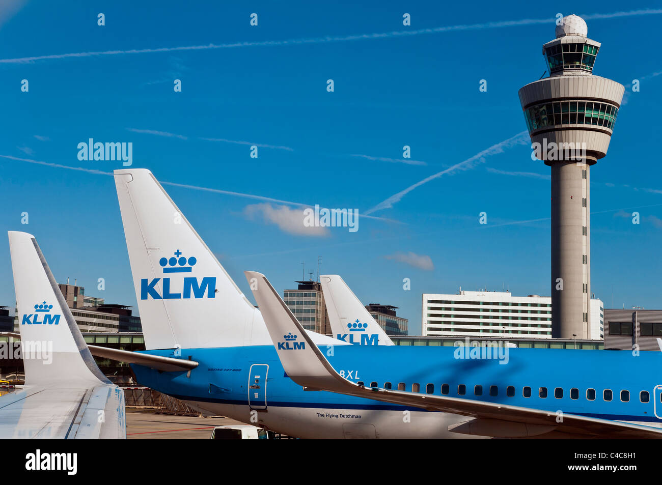 KLM Boeing 737 equipped with winglet, Amsterdam Schipol airport, The Netherlands - Stock Image
