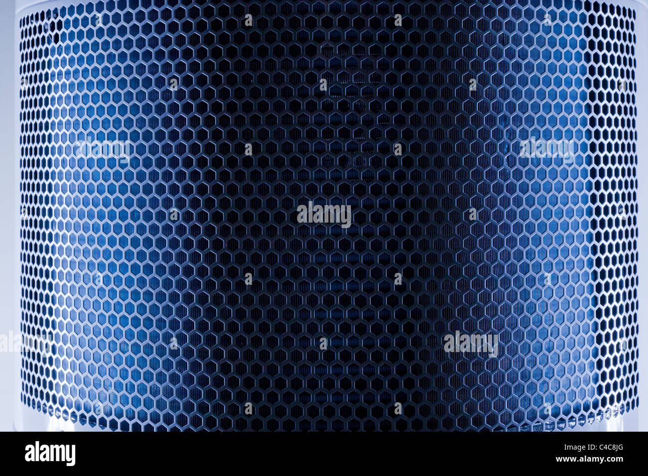 Dark blue Metal Mesh Texure closeup shot - Stock Image
