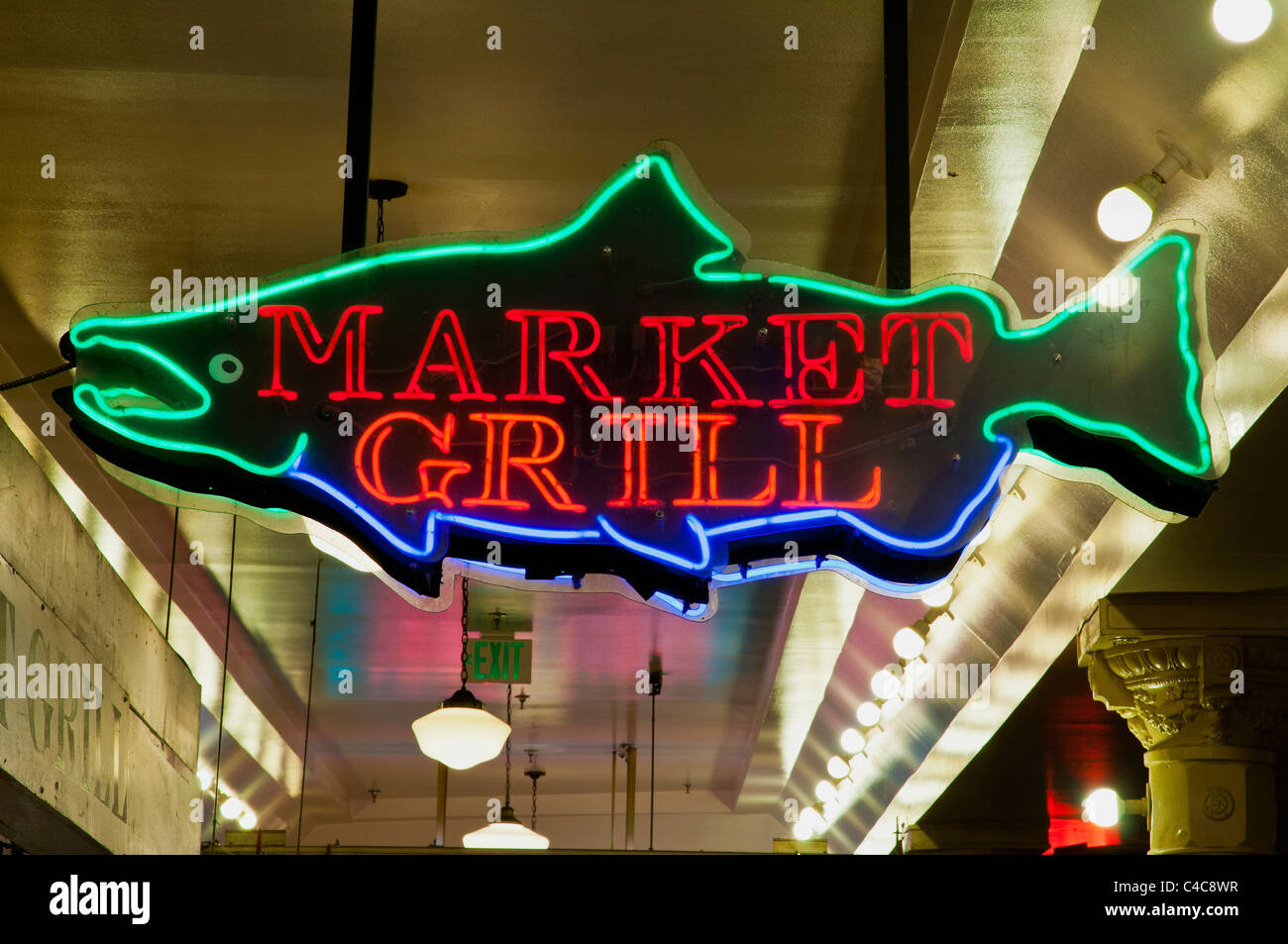 Color neon sign in shape of fish, Pike Place Market, Seattle Stock ...