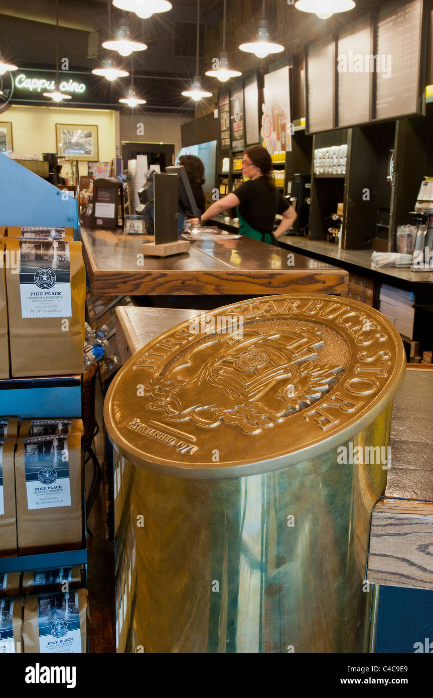 Golden plaque of the first original Starbuck's cofffe shop located in downtown Seattle, Washington, USA - Stock Image