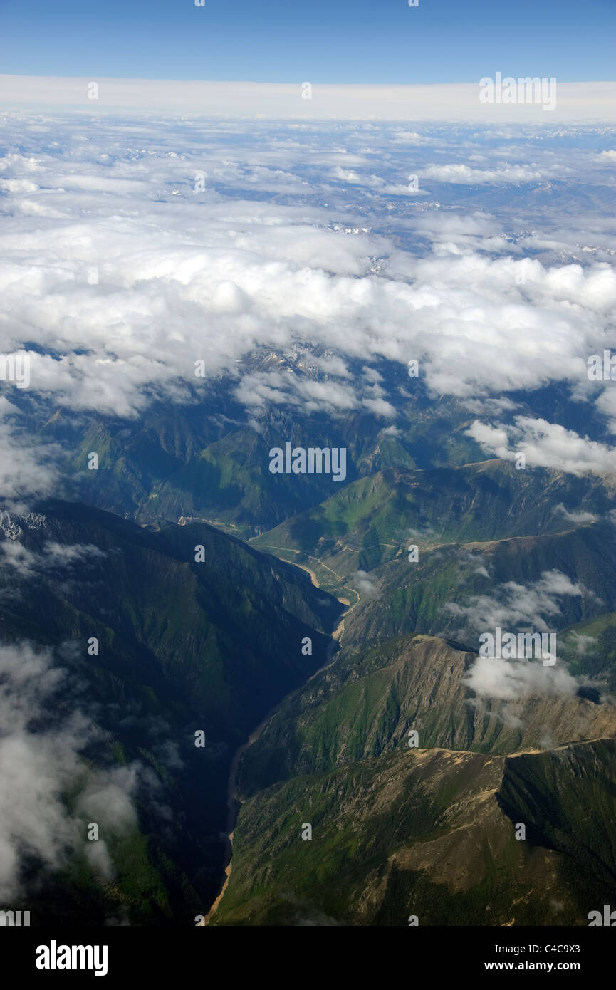 Aerial view of the Himalaya mountains of Tibet - Stock Image