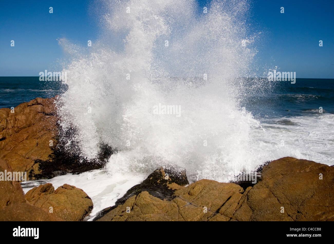 Waves crashing on the shore of Cabo Polonio. Uruguay. - Stock Image