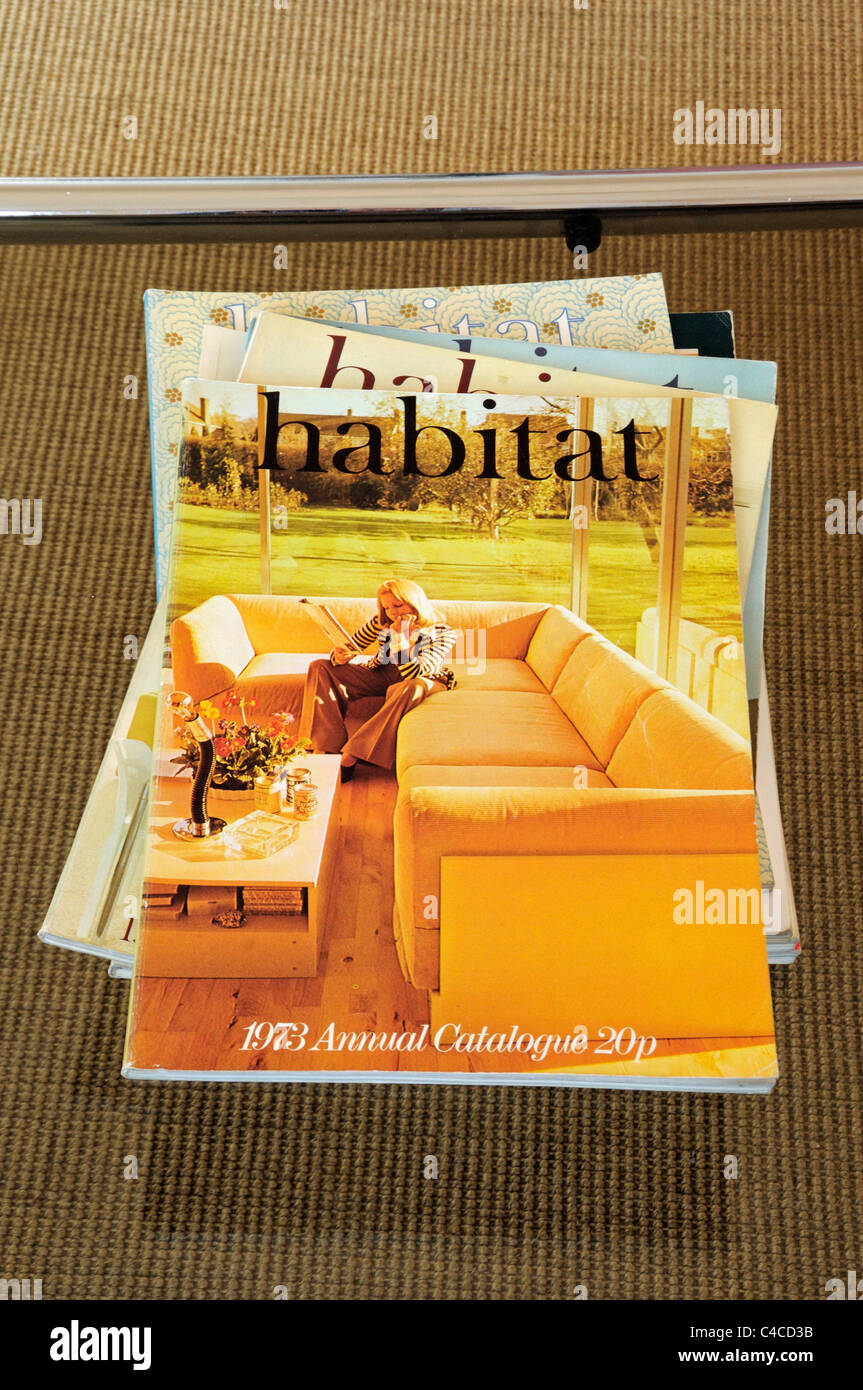 1973 Habitat Catalogue on glass topped OMK coffee table. For editorial use only. - Stock Image