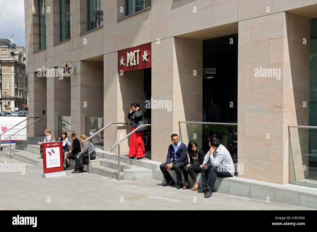 People sitting outside Pret A Manger Holborn Viaduct, Holborn Circus London England UK - Stock Image