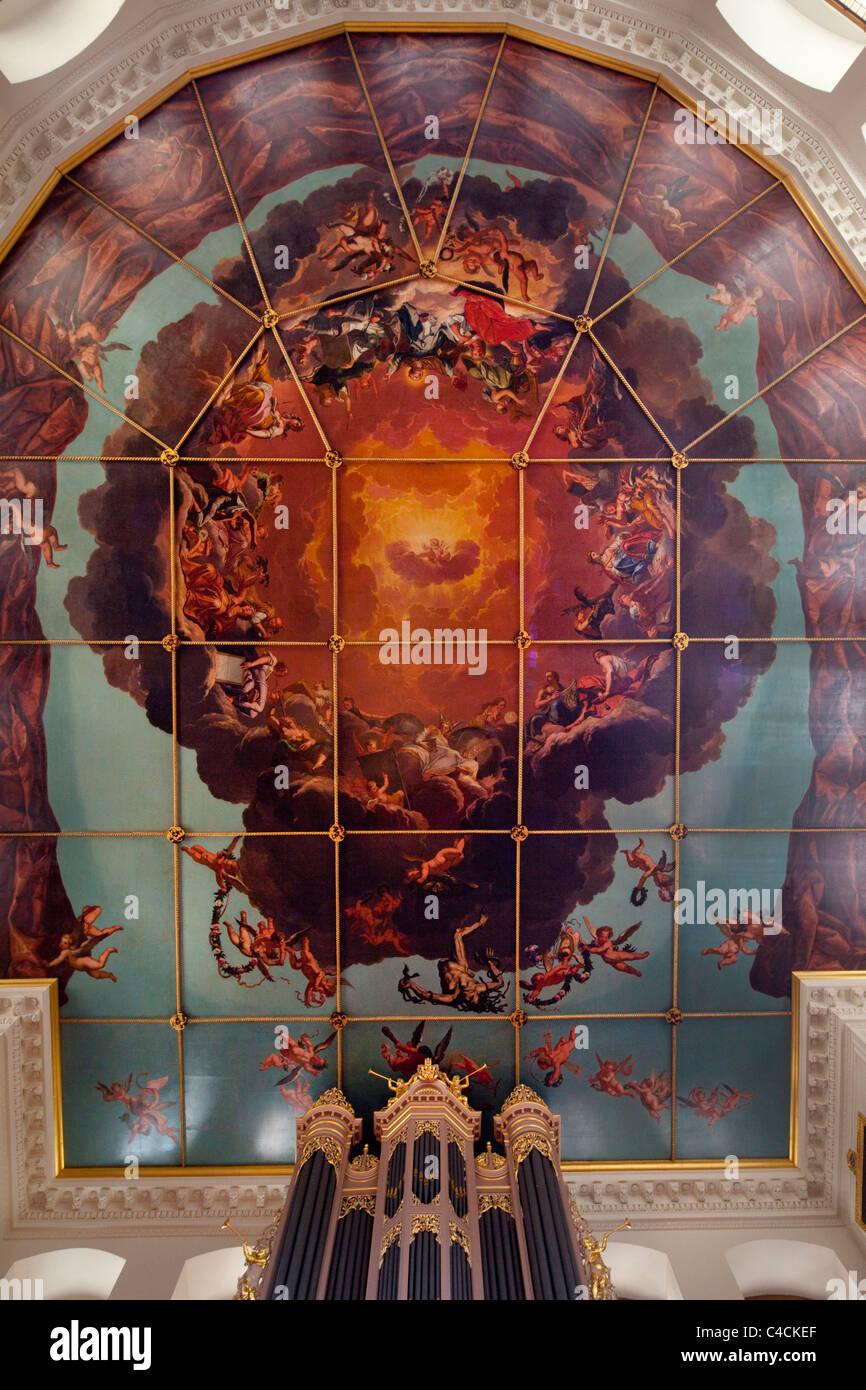 Ceiling fresco in Sheldonian theatre, Oxford, Oxfordshire, England Stock Photo