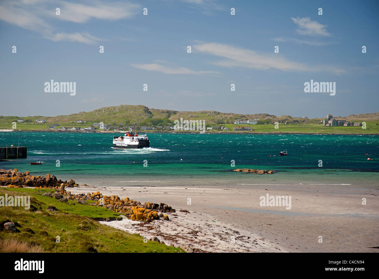 The Cal Mac Ferry Loch Buie Crossing the Sound of Iona from Fionnphort, Mull to the Island of Iona.  SCO 7211 - Stock Image