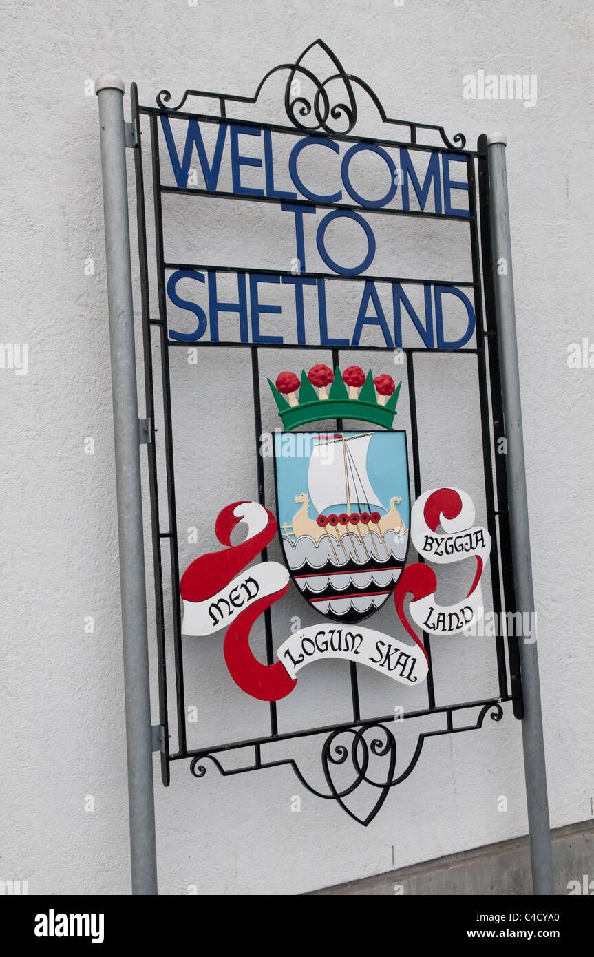 Welcome to Shetland sign, Lerwick, Shetland, Scotland, UK - Stock Image