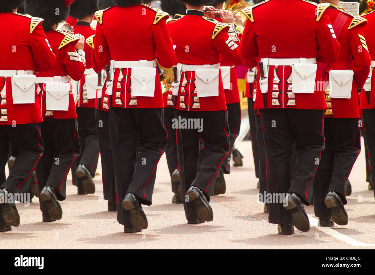 Coldstream Guards march away after the royal wedding of Prince William and Kate Middleton, (April 29, 2011), London, - Stock Image
