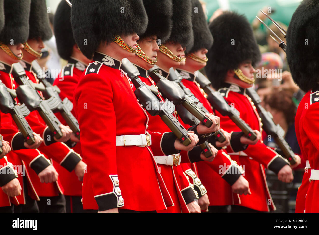 Coldstream Guards march away after the royal wedding of Prince William and Kate Middleton, April 29, 2011, London, - Stock Image