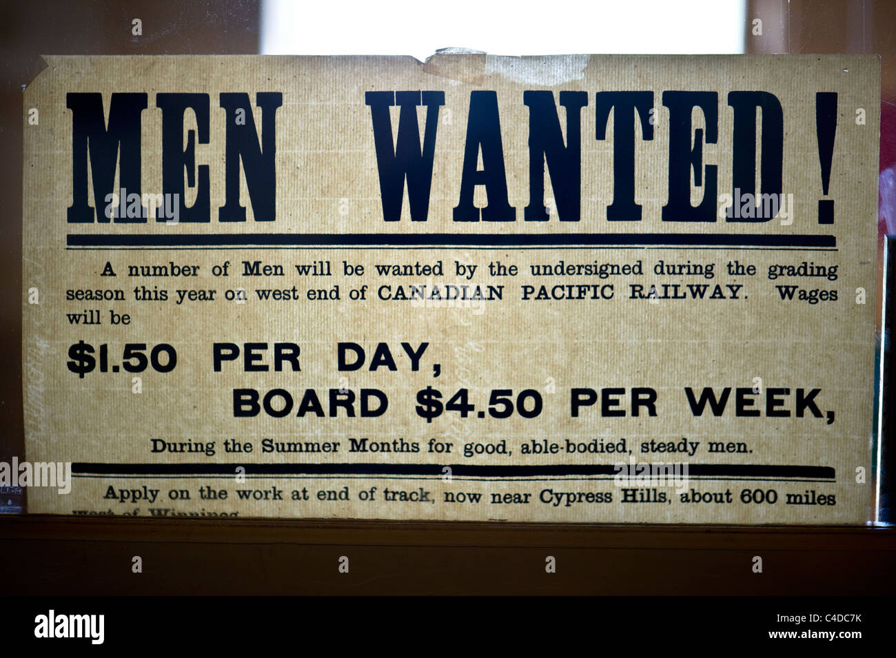 VIntage Men Wanted sign for Canadian Pacific Railway, circa 1887 - Stock Image