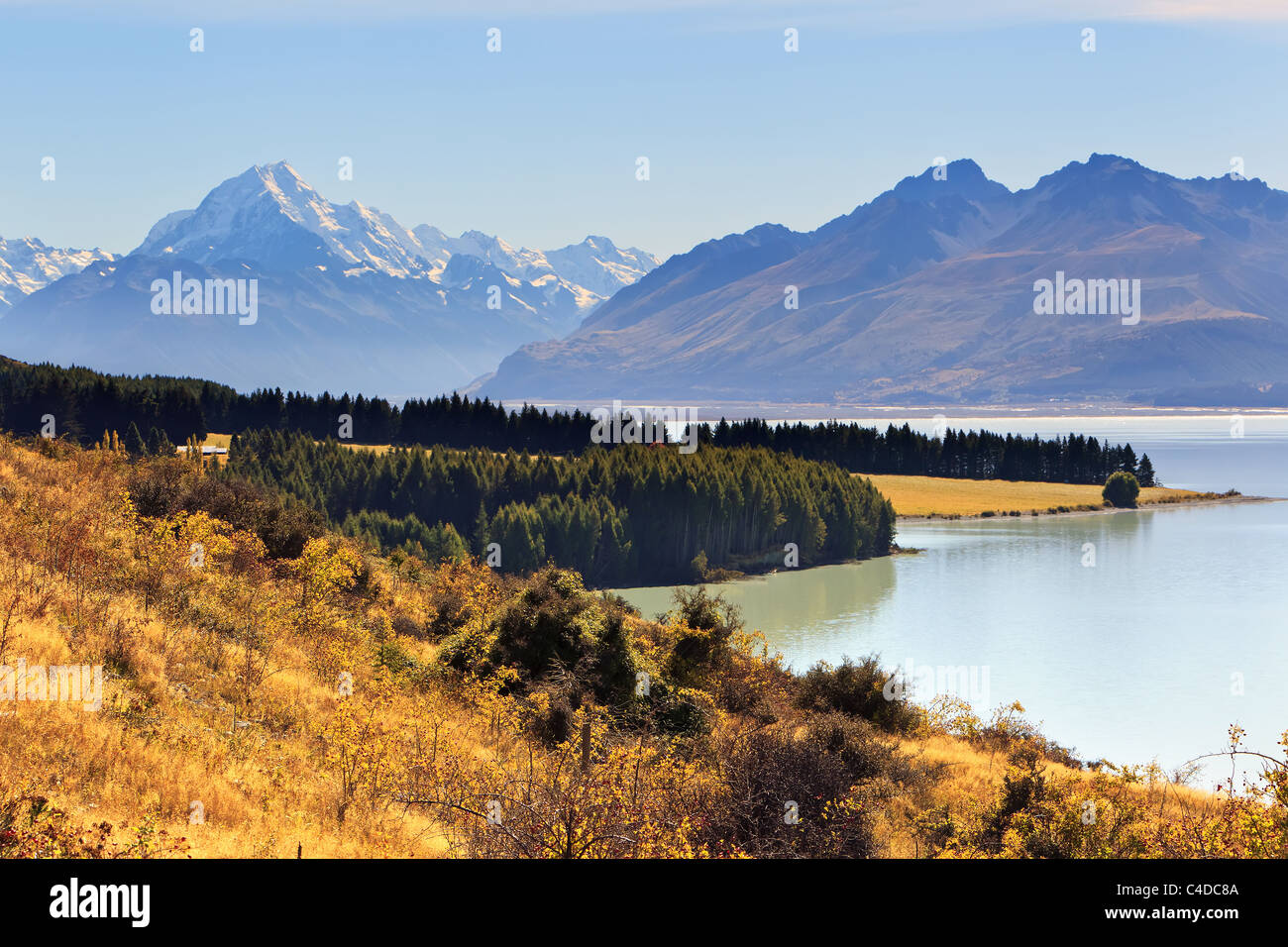 Road to Mount Cook South Island New Zealand - Stock Image