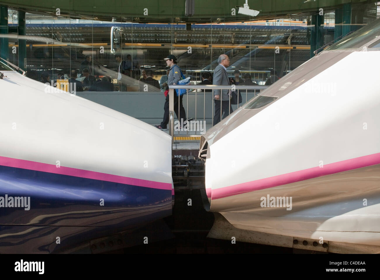 Bullet train cars coupled together and people on platform at Tokyo station. - Stock Image